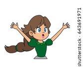 beautiful little princess green ... | Shutterstock .eps vector #643691971