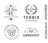 set of vintage tennis logos ... | Shutterstock . vector #643698805