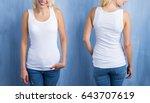 white tank top mockup  front... | Shutterstock . vector #643707619