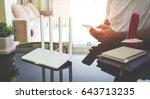 closeup of a wireless router... | Shutterstock . vector #643713235