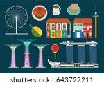 singapore illustration  vector  ... | Shutterstock .eps vector #643722211