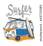 surfer van illustration on... | Shutterstock .eps vector #643725385