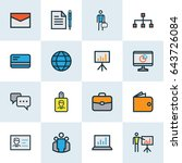 job colorful outline icons set. ... | Shutterstock .eps vector #643726084