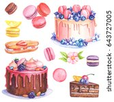 cakes and macaroons watercolor... | Shutterstock . vector #643727005