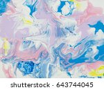blue and pink abstract art hand ... | Shutterstock . vector #643744045