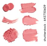 red makeup smears of lip gloss... | Shutterstock . vector #643750609