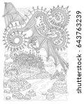 vector cartoon fairy flying... | Shutterstock .eps vector #643763239