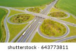 Aerial view of highway crossroad junction. D5 highway in west Bohemia, Czech republic, European union.