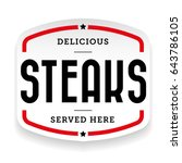 steaks vintage stamp sticker... | Shutterstock .eps vector #643786105