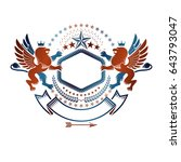 graphic emblem with brave lion... | Shutterstock .eps vector #643793047