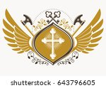 vintage decorative heraldic... | Shutterstock .eps vector #643796605