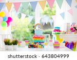 kids birthday party decoration... | Shutterstock . vector #643804999