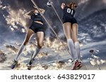 female volleyball players... | Shutterstock . vector #643829017