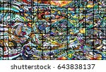 stained glass series. creative... | Shutterstock . vector #643838137