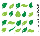 set of green leaf icons  on...   Shutterstock .eps vector #643845451
