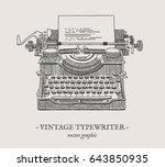 retro typewriter vector drawing ... | Shutterstock .eps vector #643850935
