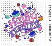 happy birthday typography... | Shutterstock .eps vector #643869115