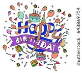 happy birthday typography... | Shutterstock .eps vector #643869754