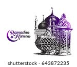 eid mubarak background with... | Shutterstock .eps vector #643872235