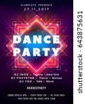 dance party poster vector... | Shutterstock .eps vector #643875631