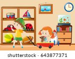 kids playing with toys in the... | Shutterstock .eps vector #643877371