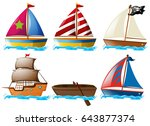 different kinds of vessels... | Shutterstock .eps vector #643877374