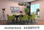 interior dining area. 3d... | Shutterstock . vector #643889479
