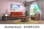 interior living room. 3d... | Shutterstock . vector #643891201