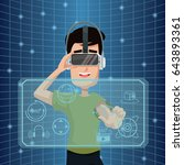 virtual reality wearing goggle... | Shutterstock .eps vector #643893361