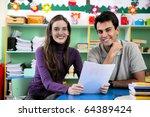 teachers or teacher and parent...   Shutterstock . vector #64389424