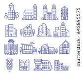 city icons. | Shutterstock .eps vector #643895575