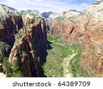 looking up zion canyon from...   Shutterstock . vector #64389709