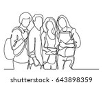 standing students   continuous... | Shutterstock .eps vector #643898359