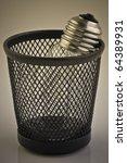 light bulb in trash bin.... | Shutterstock . vector #64389931