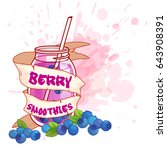 cocktail jar with a blueberry... | Shutterstock .eps vector #643908391