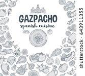 vector.gazpacho. ingredients.... | Shutterstock .eps vector #643911355