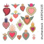 sacred mexican heart color set | Shutterstock .eps vector #643924135
