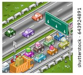 vacation traffic jam on highway ... | Shutterstock .eps vector #643924891