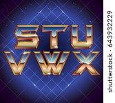 80s retro futuristic font from... | Shutterstock .eps vector #643932229
