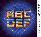 80s retro futuristic font from... | Shutterstock .eps vector #643932259