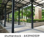 walkway with the roof in the... | Shutterstock . vector #643940509
