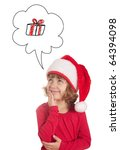 Happy little girl waiting for christmas wearing a santa hat - isolated - stock photo
