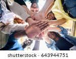 close up view of young people... | Shutterstock . vector #643944751