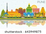 pune skyline with color... | Shutterstock .eps vector #643949875