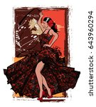flamenco spanish dancer woman   ... | Shutterstock .eps vector #643960294