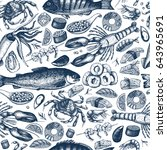 vintage seafood background.... | Shutterstock . vector #643965691