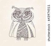 owl in cloak modern original... | Shutterstock .eps vector #643974511