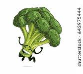 jumping broccoli emoji | Shutterstock .eps vector #643975444