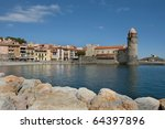 The harbour of Collioure in the South of France - stock photo