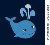 whale patch embroidery  vector... | Shutterstock .eps vector #643981585